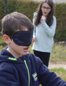 Course guidée les yeux bandés